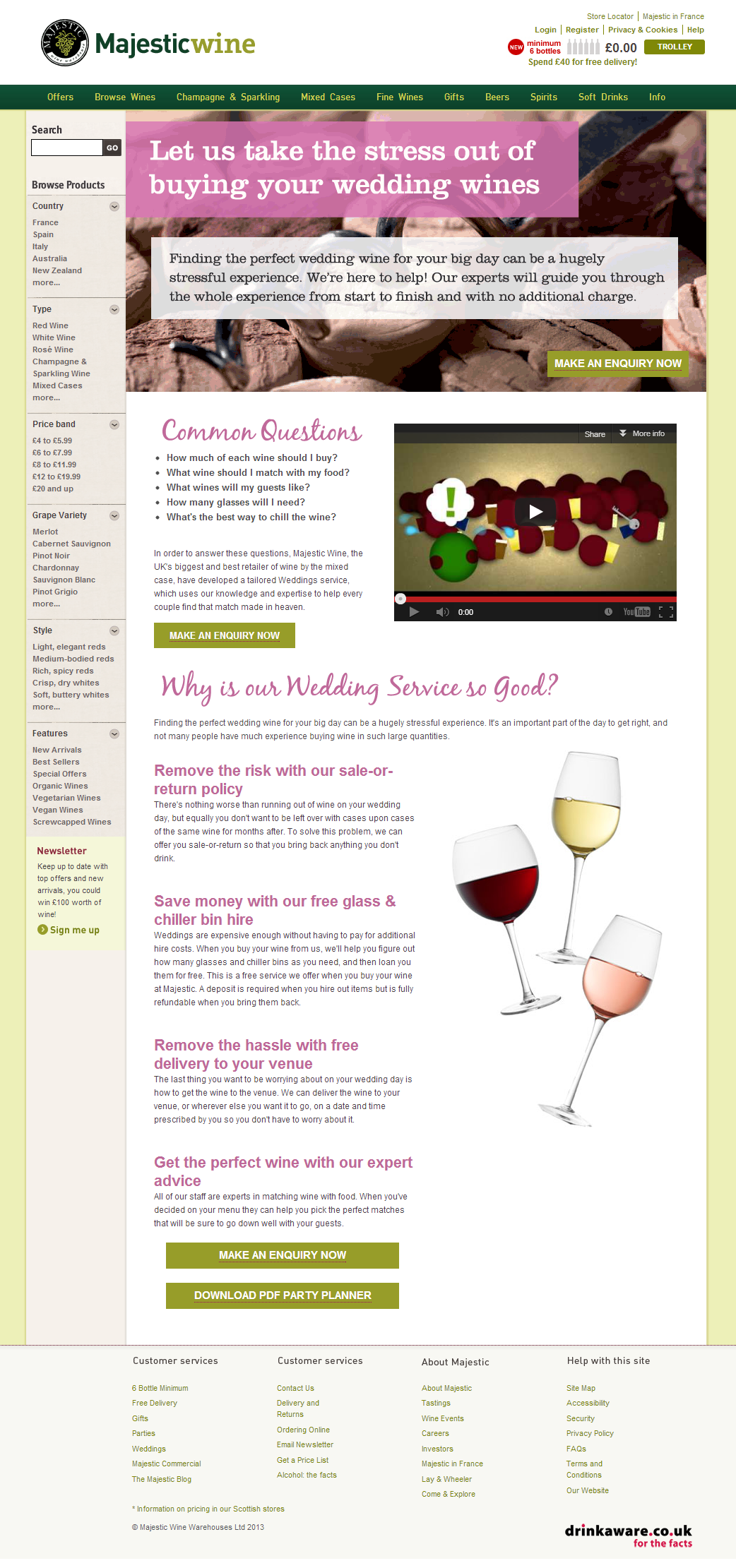 Vino - screenshoto di majestic wine - sfidante - Esperimento per Conversion Rate Optimization