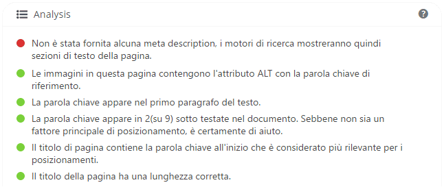 immagine del controllo automatico sul copywriting del testo - Yoast Seo Plugin for WordPress