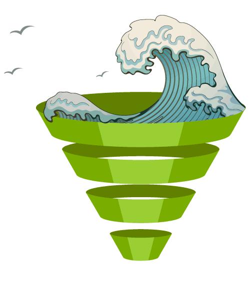 immagine di un funnel con all'interno l'onda di hokusai