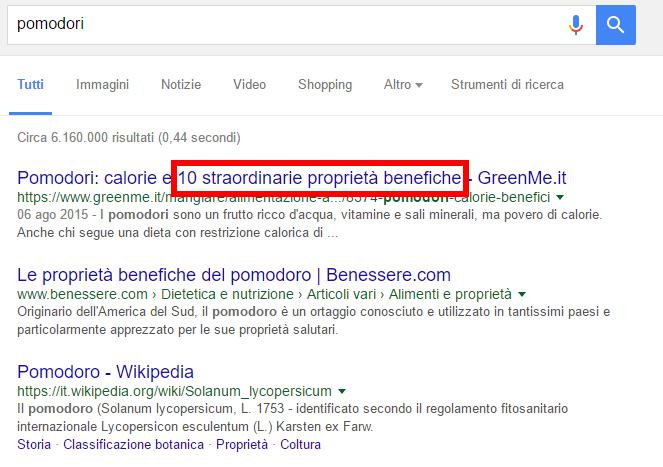 """Risultati della ricerca su Google per """"Pomodori"""""""